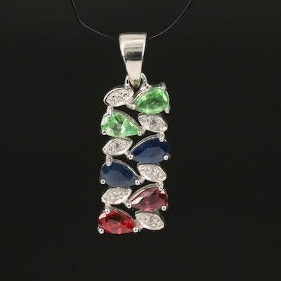Sterling Gemstone Pendant with Tsavorite, Sapphire and Zircon