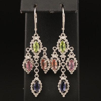 Sterling Peridot, Sapphire and Iolite Drop Earrings