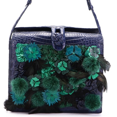 Nancy Gonzalez Shoulder Bag in Crocodile with Fur, Feather, and Leather Appliqué