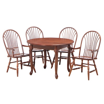Five-Piece American Primitive Style Cherrywood Benchmade Dining Set