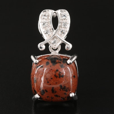 Sterling Silver Mahogany Obsidian and Topaz Pendant