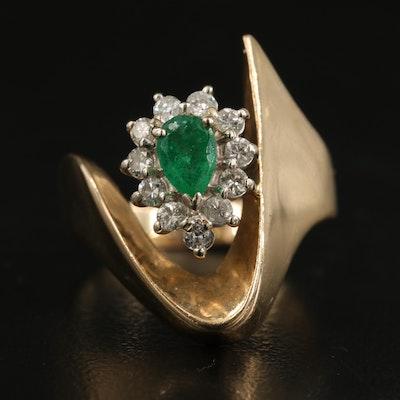 14K Emerald and Diamond Contemporary Halo Ring