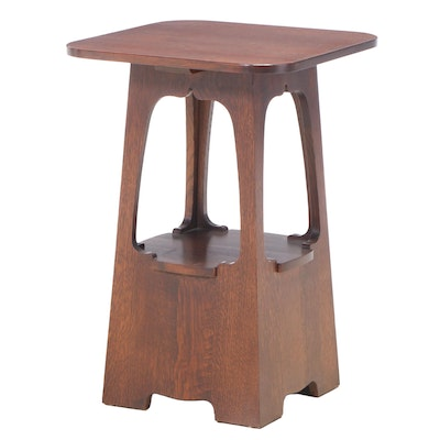 Stickley Arts and Crafts Style Oak Two-Tier Side Table