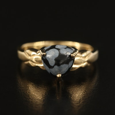 Sterling Snowflake Obsidian Solitaire Ring