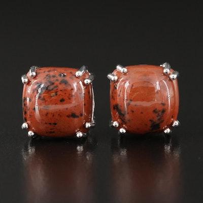 Sterling Silver Mahogany Obsidian Earrings
