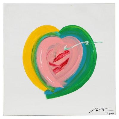 "Mac Worthington Acrylic Painting ""Wet Heart,"" 2010"