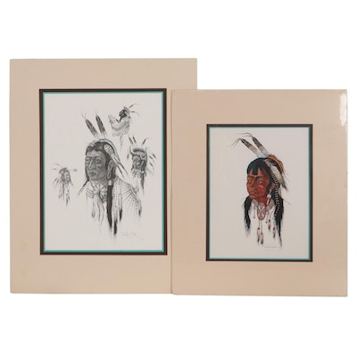 """Woody Crumbo Halftone """"Wooden Lance"""" and Offset Lithograph """"Young Brave"""""""