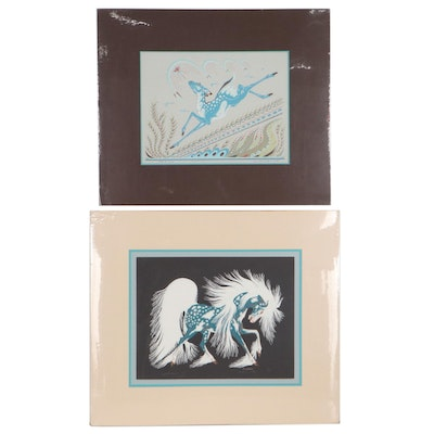 """Woody Crumbo Serigraphs """"Spirit Horse"""" and """"Sign of Spring"""""""