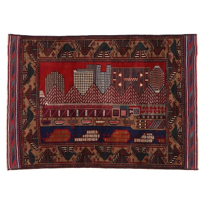 4'8 x 6'9 Hand-Knotted Afghan Baluch Pictorial Rug