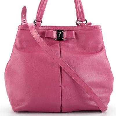 Salvatore Ferragamo Ninette Two-Way Small Tote Bag in Rasberry Leather
