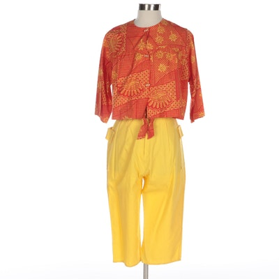 Catalina Inc. Floral Geometric Print Cropped Jacket and Cropped Pants, 1950s-60s