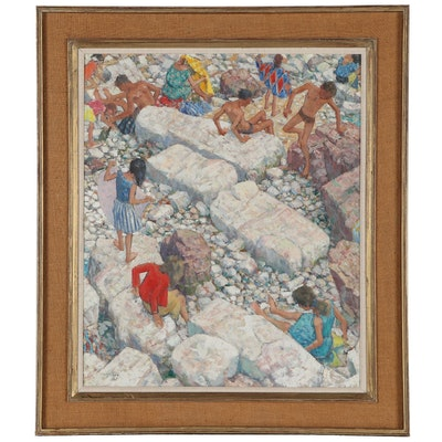 "Frank Runacres Oil Painting ""Rocks and Figures,"" 1967"
