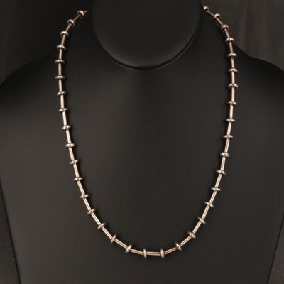 Sterling Bead and Bar Link Necklace