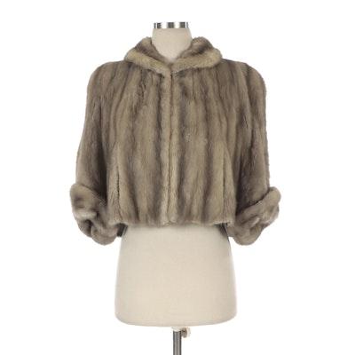 Mink Fur Cropped Capelet Jacket