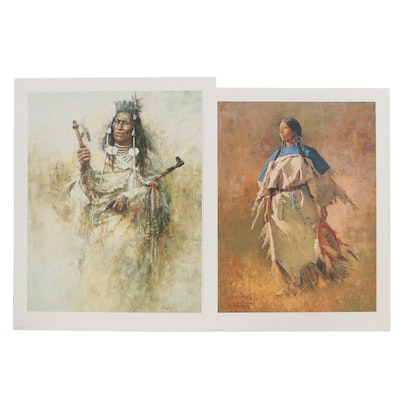Howard Terpning Offset Lithographs of Native American Figures