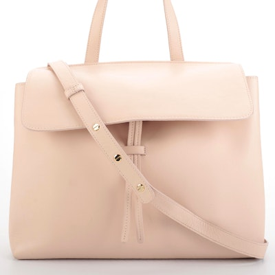 Mansur Gavriel Flap Front Two-Way Lady Bag in Blush Smooth Leather