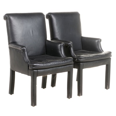 """Pair of Shenandoah Furniture Leather """"Host"""" Armchairs"""