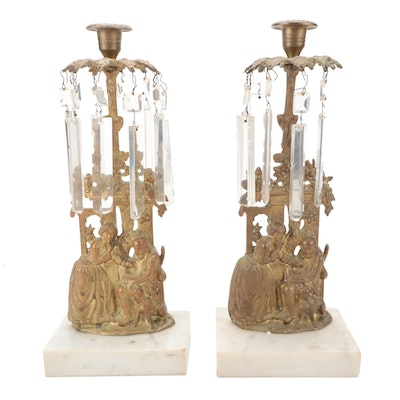 Pair of Victorian Marble and Brass Mantel Lusters, Late 19th/Early 20th Century