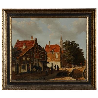 Jo Vergeer Oil Painting of European Street Scene, Mid-20th Century