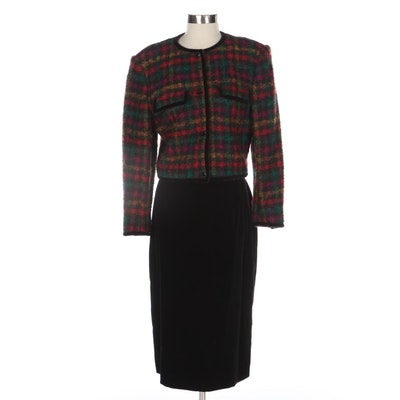 Gucci Bouclé Tweed Suit Jacket with Black Velvet Tapered Skirt