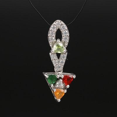 Sterling Peridot, Zircon, Opal, and Gemstone Pendant