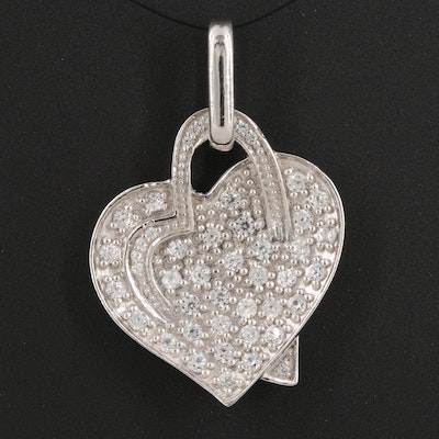 Sterling Silver Zircon Double Overlapping Heart Pendant