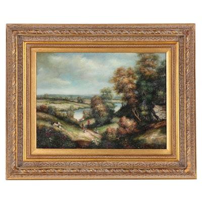 Wilcot Landscape Oil Painting of Horseback Riders