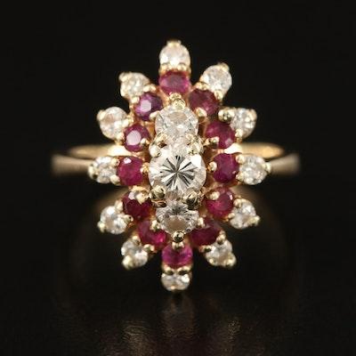 14K Diamond and Ruby Navette Cluster Ring