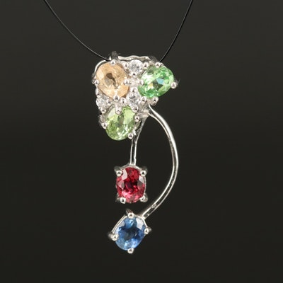 Sterling Mixed Gemstone Pendant with Sapphire, Tsavorite and Zircon