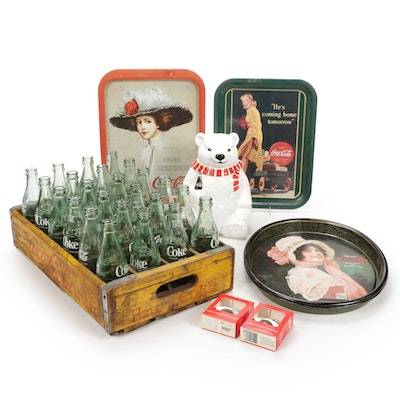 Coca-Cola Glass Bottles in Crate, Cookie Jar, Bottle Openers and Trays