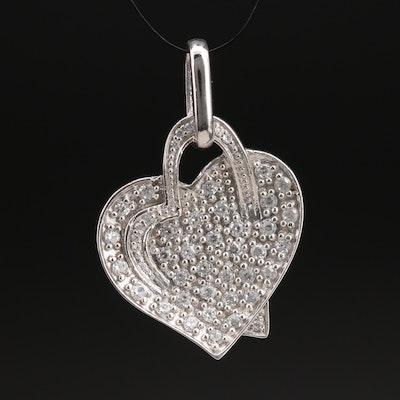Sterling Pavé Zircon Heart Pendant