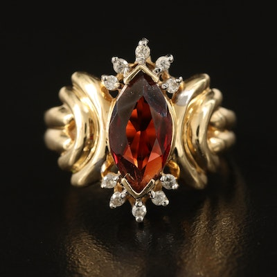 14K Garnet and Diamond Marquise Ring with Fluted Shoulders
