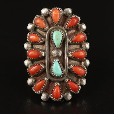 Southwestern Sterling Turquoise and Coral Petit Point Ring