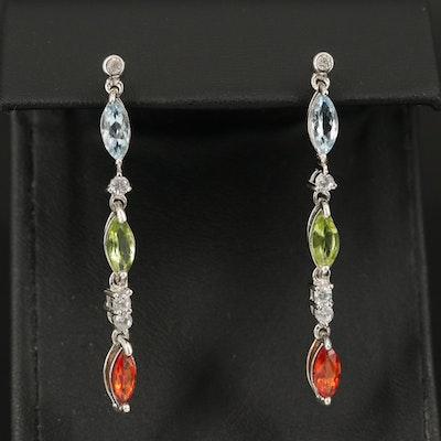 Sterling Aquamarine, Sapphire and Zircon Drop Earrings
