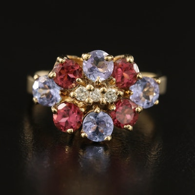 10K Tanzanite, Pink Tourmaline and Diamond Cluster Ring