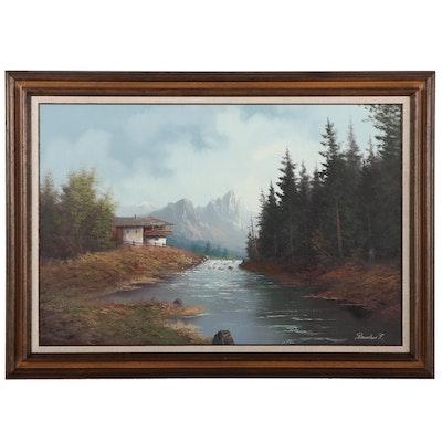 Felix Raucher Landscape Oil Painting of Lake, Late 20th Century