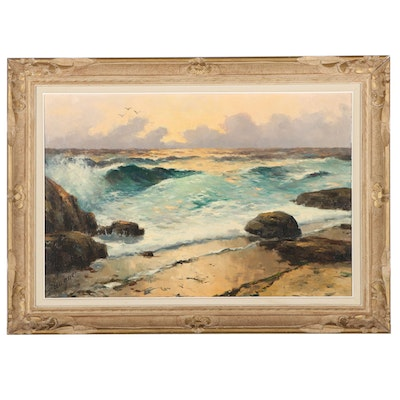 Seascape Oil Painting of Crashing Waves, Late 20th Century