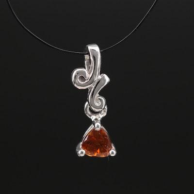 Sterling Hessonite Garnet Pendant