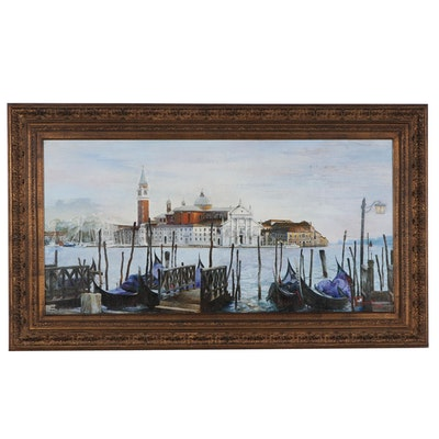 Lidia Dinner Large-Scale Oil Painting of Saint Mark's Square, 2002