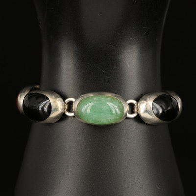 Mexican Sterling Inlay Bracelet with Sodalite, Aventurine and Jasper
