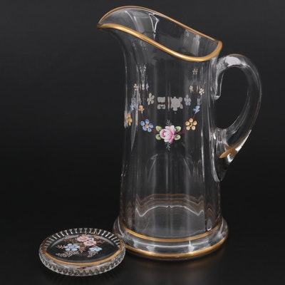 Hand-Painted Floral Motif Glass Pitcher and Coaster