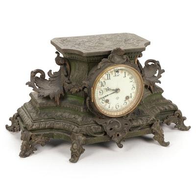 Ansonia Clock Co. Cast Spelter Mantel Clock, Late 19th Century