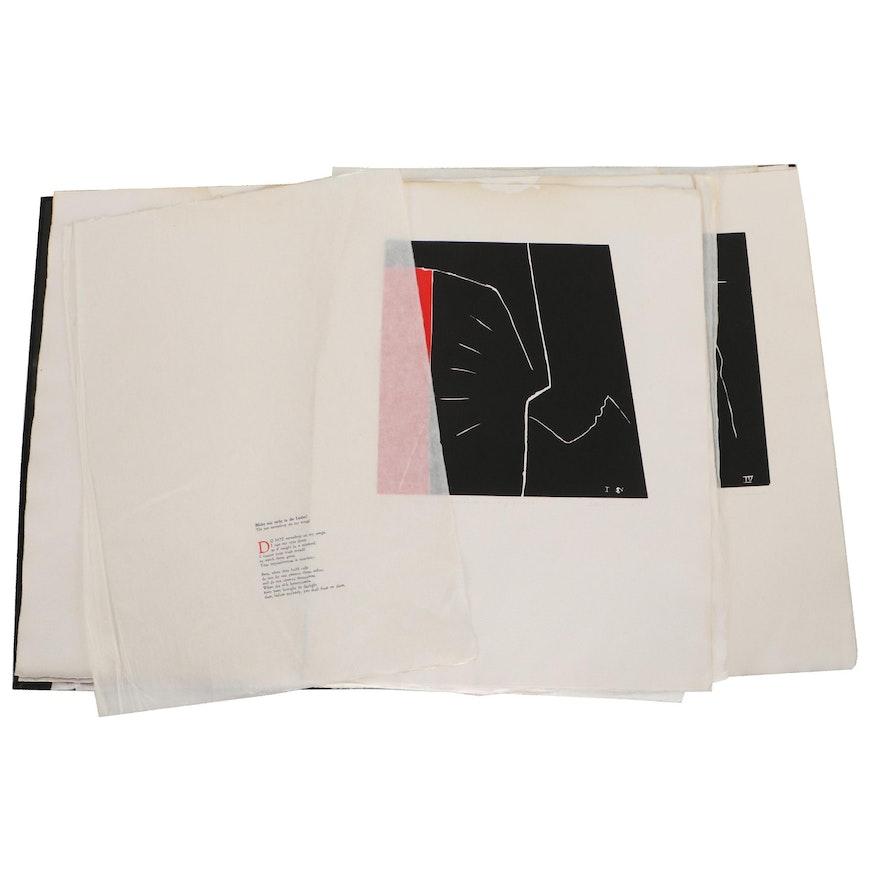 """Dale Chisman Linocut Folio """"Dale Chisman: Five Rückert Songs,"""" 1987"""