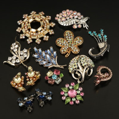 Coro and Van Dell Featured with Vintage Rhinestone Brooches and Earrings
