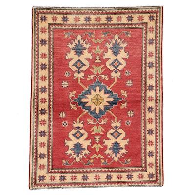 3'9 x 5'4 Hand-Knotted Afghan Kazak Area Rug