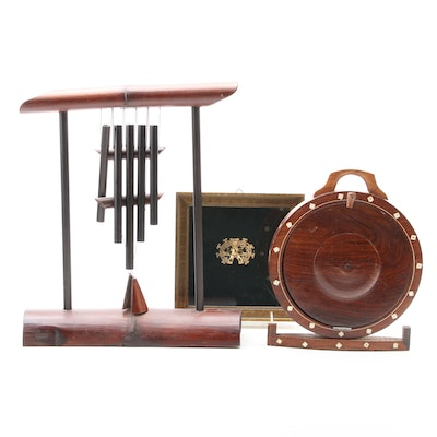 East Asian Style Table Wind Chimes, Folding Server and Columbian Shaman Pinback