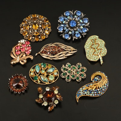 Austrian Rhinestone Brooch Featured with Vintage Jewelry