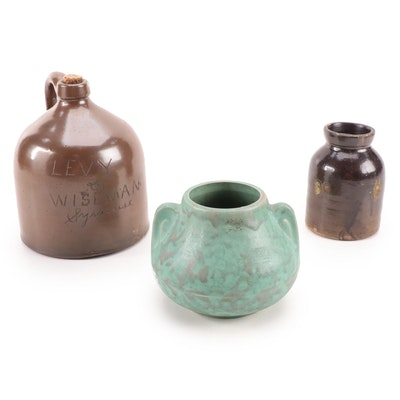 Brown Stoneware Beehive Jug and Jar with Turquoise Vase, Early 20th Century