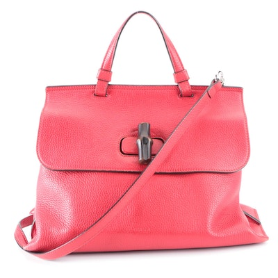Gucci Bamboo Daily Top Handle Flap Bag in Red Leather with Detachable Strap