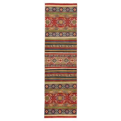 2'9 x 9'10 Hand-Knotted Afghan Kazak Carpet Runner